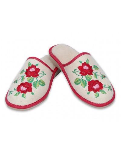 Ciepłe góralskie pantofle - Naturalny filc - Folk