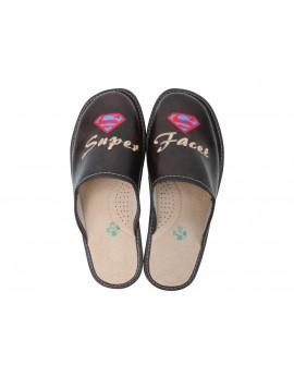 Super Facet - Skórzane pantofle kapcie męskie