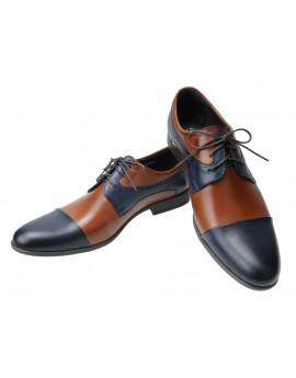 Brązowo granatowe męskie buty wizytowe 6109