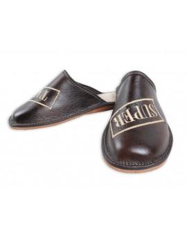 Super Tata - Skórzane pantofle haftowane - Prezent na dzień Ojca