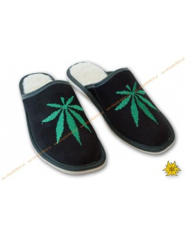 Slippers with embroidered marijuana
