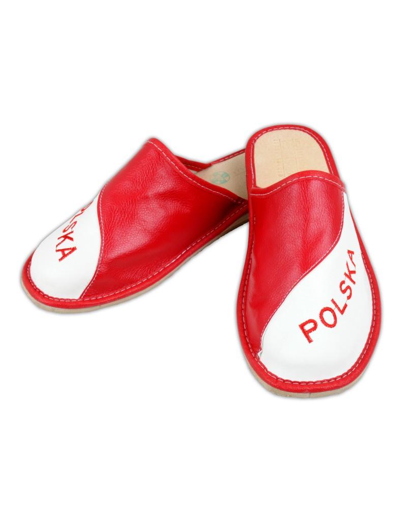 Skórzane Pantofle KIBICA - POLSKA Upominek Prezent - Męskie