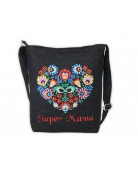 Prezent na dzień Matki - haftowana torebka Super Mama