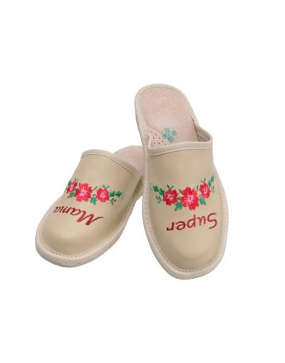 Pantofle kapcie skórzane Super Mama - Prezent na dzień Matki