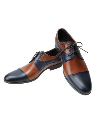 cb186b4d Brązowo granatowe męskie buty wizytowe 6109