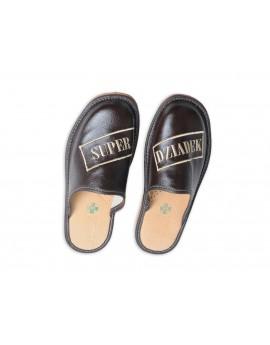 Super Dziadek - Skórzane pantofle haftowane - Prezent na dzień Dziadka - Certyfikat