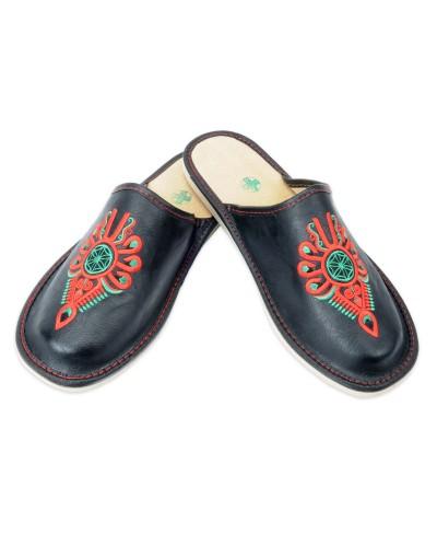 Pantofle góralskie A5LCP - Kapcie FOLK - Haft: Parzenica