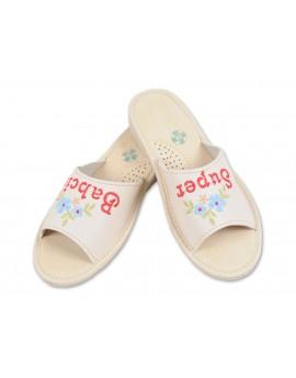 Super Babcia - Skórzane pantofle haftowane - Prezent na dzień Babci - Certyfikat