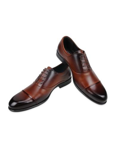 Eleganckie skórzane buty wizytowe Oxford cap toe