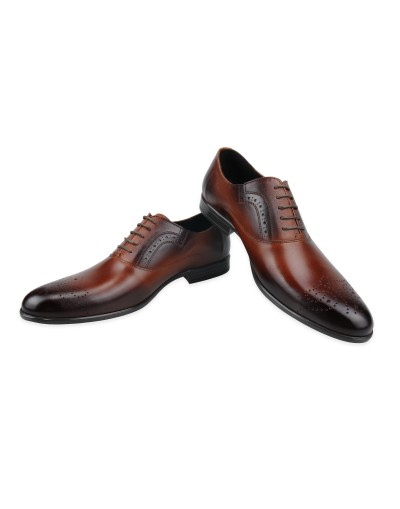 Eleganckie brązowe skórzane buty typu half-brogues