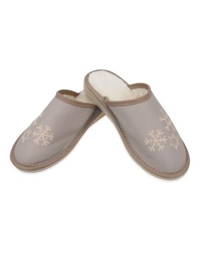 Zimowe ocieplane damskie kapcie pantofle skórzane A9GW