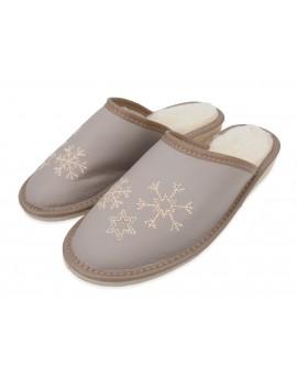 Zimowe ocieplane damskie kapcie pantofle skórzane