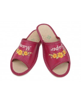Skórzane pantofle Super Mama - Prezent na dzień Matki - Certyfikat