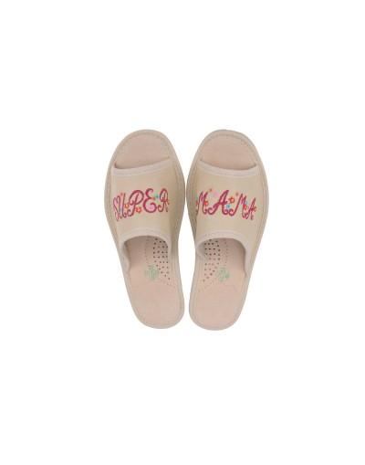 Haftowane pantofle skórzane – prezent na Dzień Matki – Certyfikat Super Mamy gratis