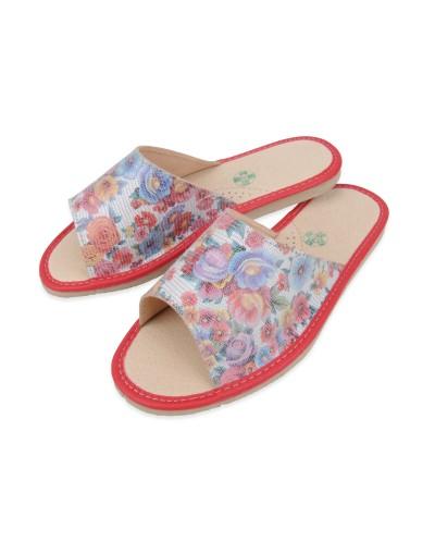 Kapcie damskie laczki pantofle domowe - mozaika kwiatów