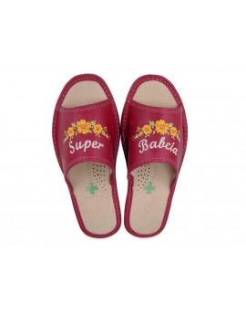 Super Babcia - Skórzane kapcie domowe haftowane - Prezent na dzień Babci - Certyfikat