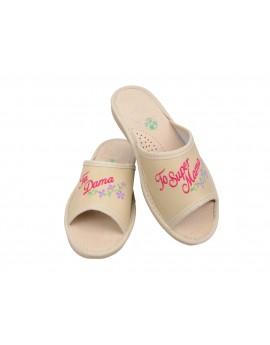 Ta Dama to Super Mama - Prezent na dzień Matki - Skórzane pantofle haftowane