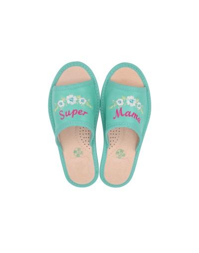 Haftowane pantofle Super Mama - Personalizowany prezent na dzień Matki
