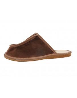Szerokie skórzane kapcie pantofle - poszerzona cholewka